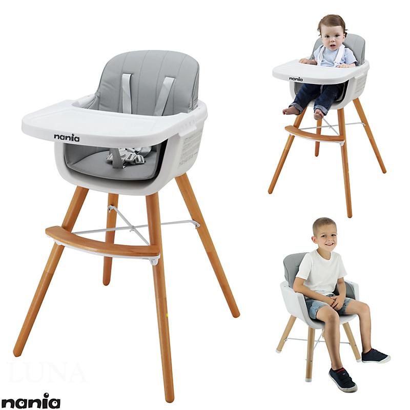 Chaise haute grise LUNA 2 en 1, évolutive en chaise enfant