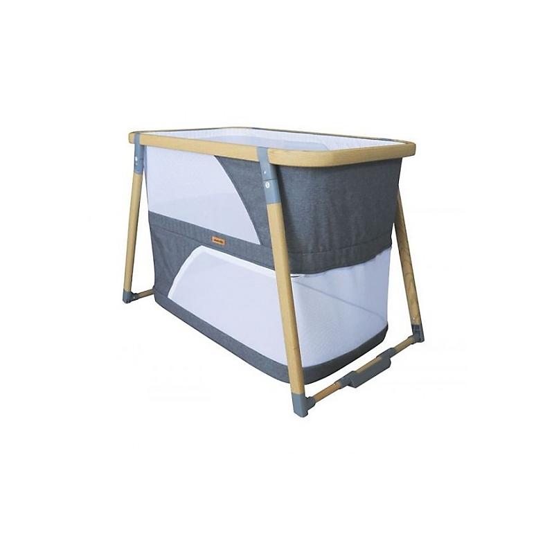 Lit bébé pliant bois/gris LIDO 3 en 1 – berceau, lit pliant et parc bébé – Nania