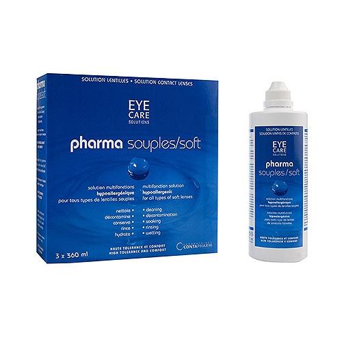 Entretien lentilles pack pharmasouples solution hypoallergénique