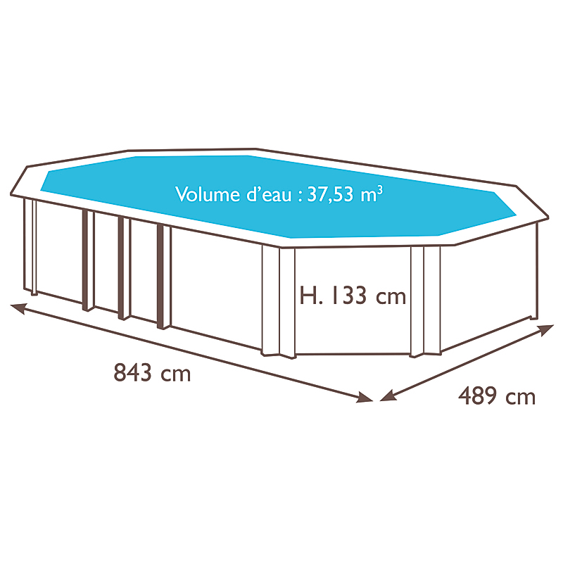 Piscine Weva ovale 840 x H. 133cm