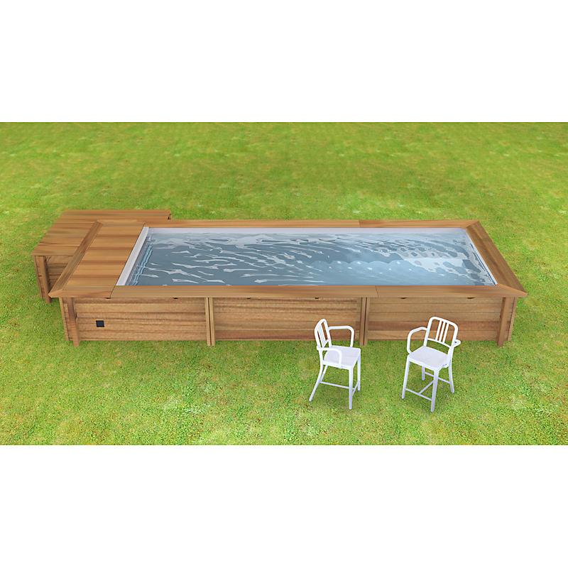 piscine bois urbaine avec couverture integree