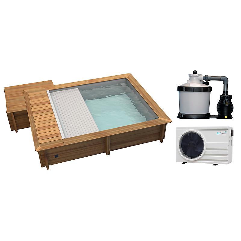 Piscine urbaine L.420 x l.350 x H.133 cm + coffre bois + filtration à sable + pompe à chaleur