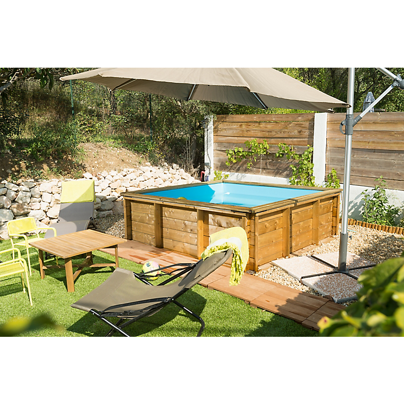 Piscinette bois carré TROPIC JUNIOR  L.226 x l.226 x H.68 cm