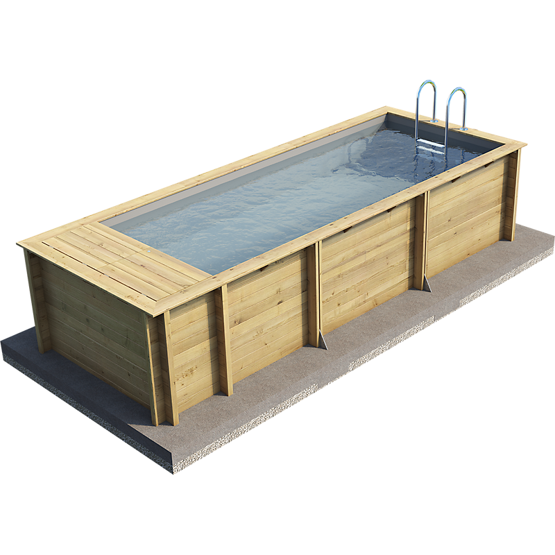 Piscine bois rectangulaire POOL'N BOX  L.610 x l.237 x H.133 cm