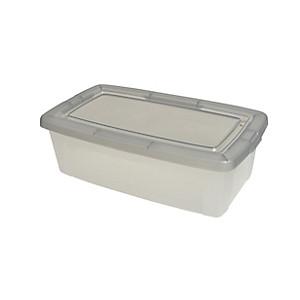 Boite De Rangement Plastique Leclerc.Boite Textile 5l Couvercle Gris