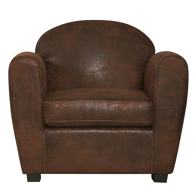 Fauteuil cuir vieilli marron clair CORSA