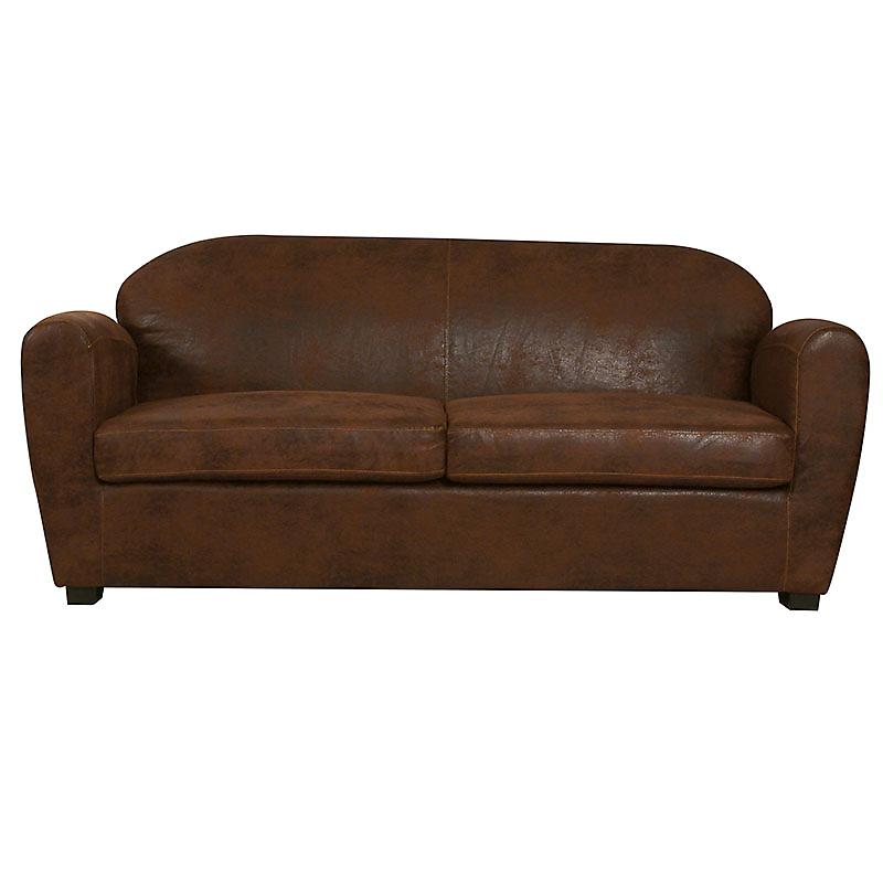 Canapé fixe 3 places cuir vieilli marron clair CORSA