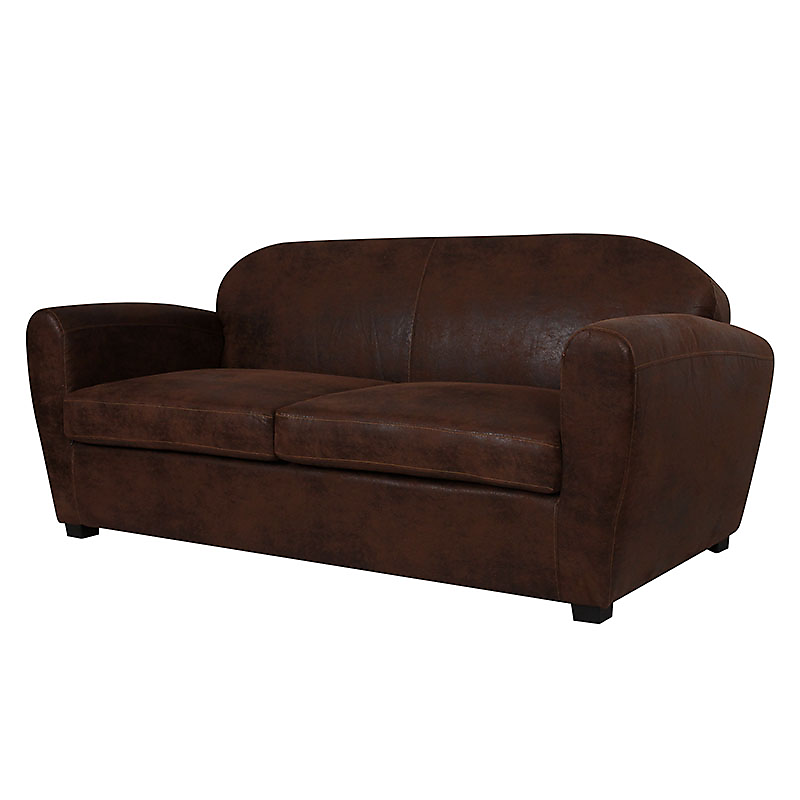 Canapé fixe 3 places cuir vieilli marron foncé CORSA