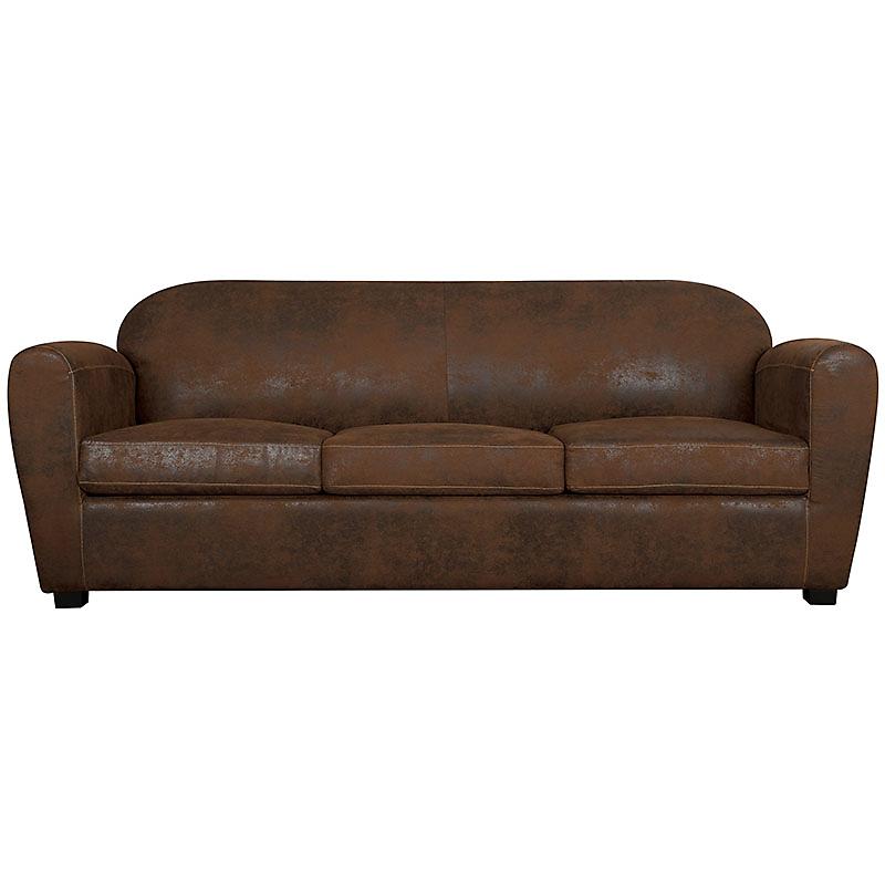 Canapé fixe 4 places cuir vieilli marron clair  CORSA