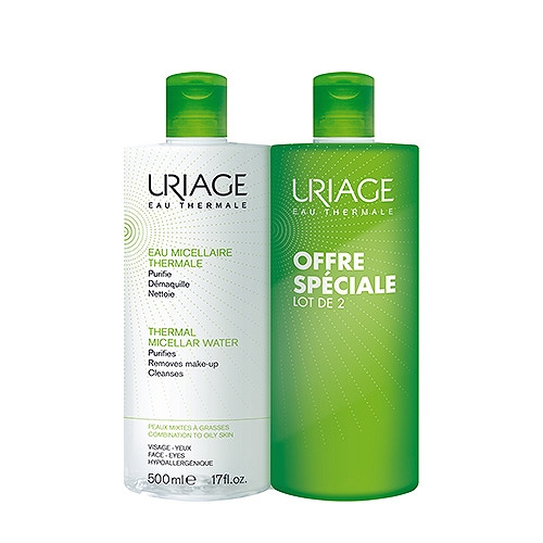 Uriage eau micellaire thermale peaux mixte à grasses lot de 2x500ml