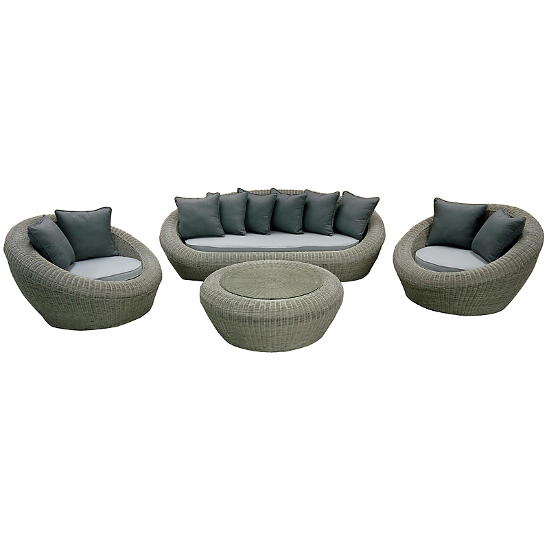 salon de jardin lounge riviera rond gris 4 places maison. Black Bedroom Furniture Sets. Home Design Ideas