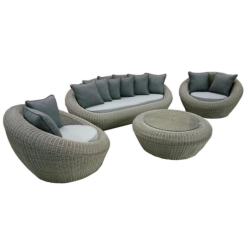 Salon lounge RIVIERA rond gris 4 places