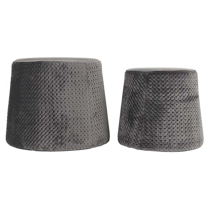 Poufs gigognes velours IRIS à motif gris foncé