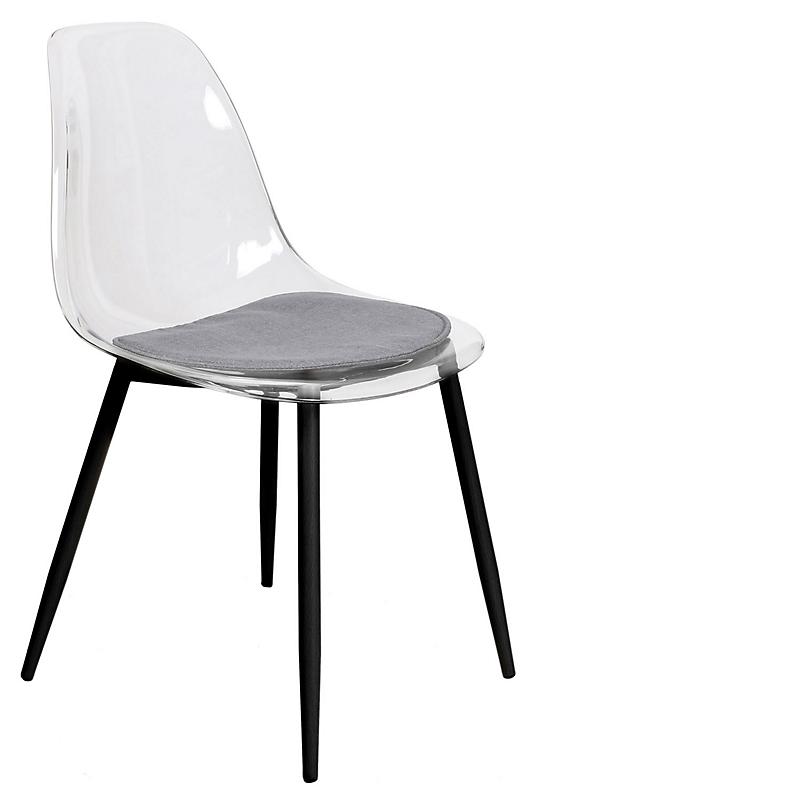 Lot de 2 chaises transparentes pieds métal noir