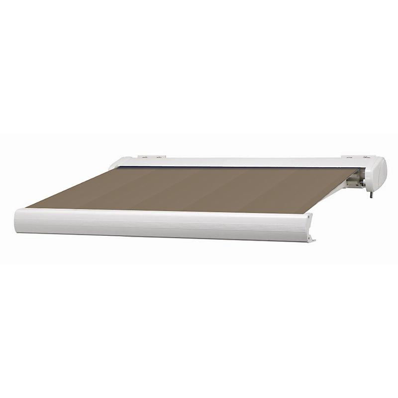 Store coffre Manhattan aluminium marron et blanc motorisé 4 x 3,5