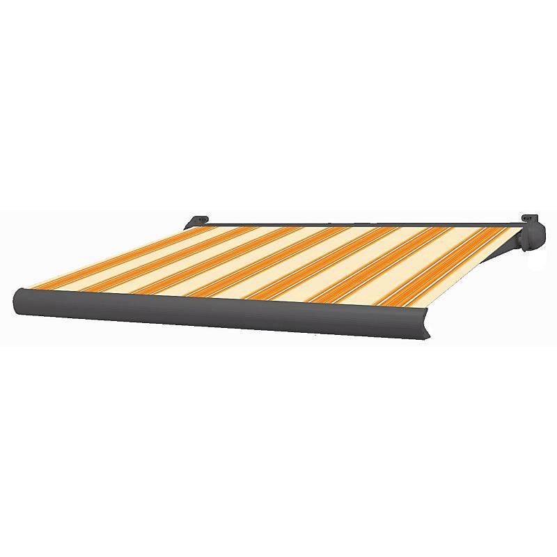 Store banne coffre intégral Ottawa rayé orange motorisé 3 x 2