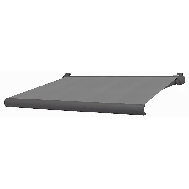 Store banne coffre intégral Ottawa gris anthracite motorisé 3 x 2