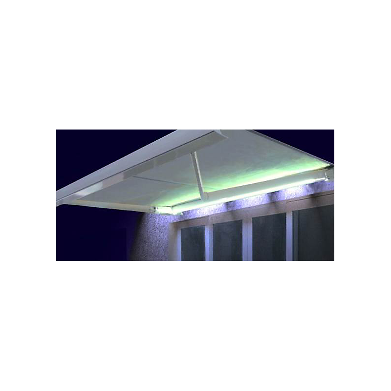 Store coffre Manhattan LED marron et blanc motorisé 5 x 3,5 m