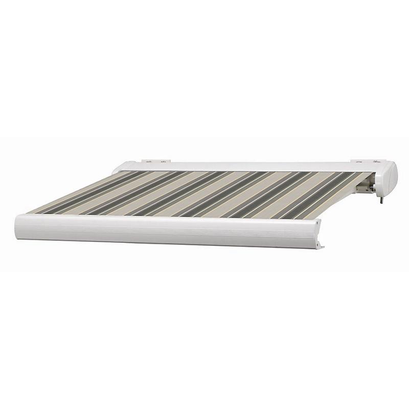 Store coffre Manhattan LED rayé gris et beige motorisé 5 x 3,5 m