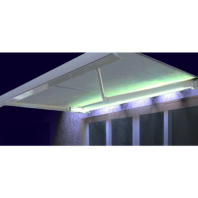 Store coffre Manhattan LED rayé gris motorisé 5 x 3,5