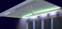 Store coffre Manhattan LED rayé gris motorisé 4 x 3,5