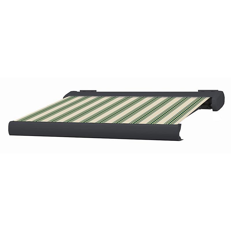 Store coffre Manhattan aluminium rayé vert motorisé 6 x 3,5