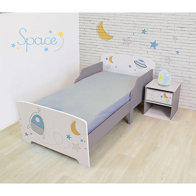 Pack chambre (lit + table de chevet + veilleuse LED) Espace