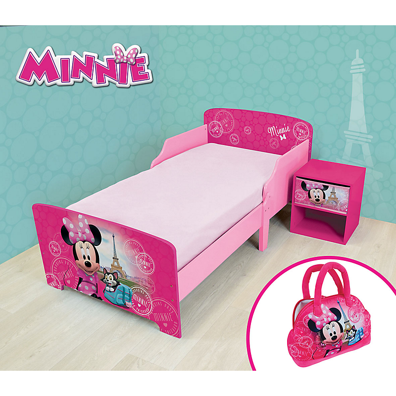 Pack chambre (lit + table de chevet + veilleuse LED) Minnie