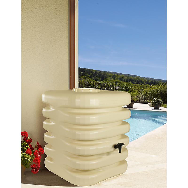 Récupérateur à eau Cubique 1000 L. avec couvercle, robinet et kit raccord chéneau beige