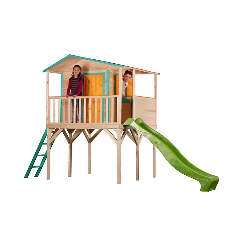 Maisonnette sur pilotis 120 cm avec toboggan 250 cm