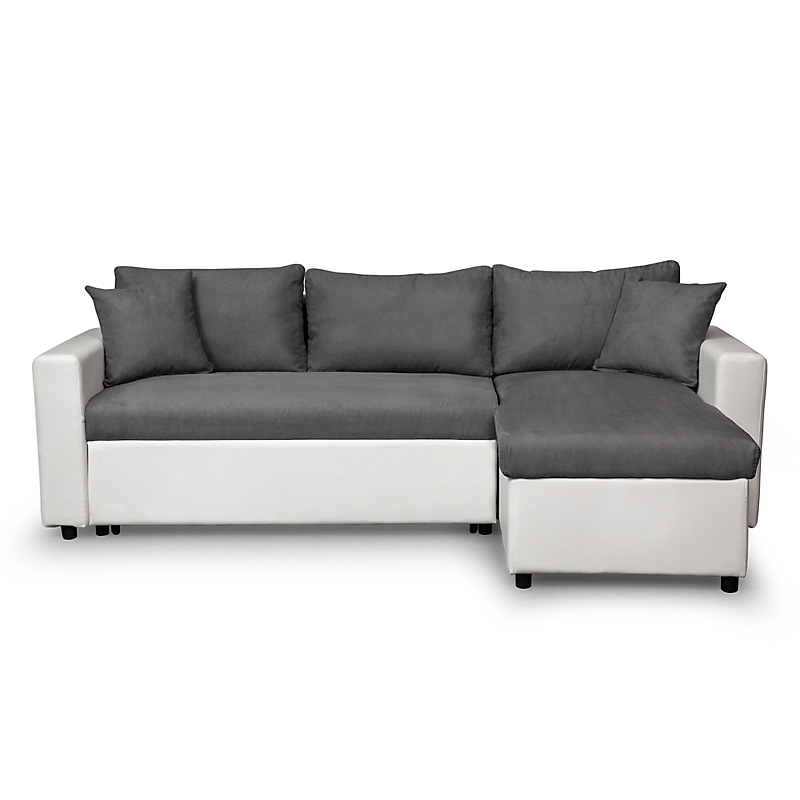 Canapé d'angle convertible réversible avec coffre blanc/gris MARIA