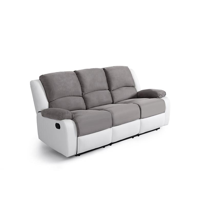 Canapé RELAX 3 places gris/blanc