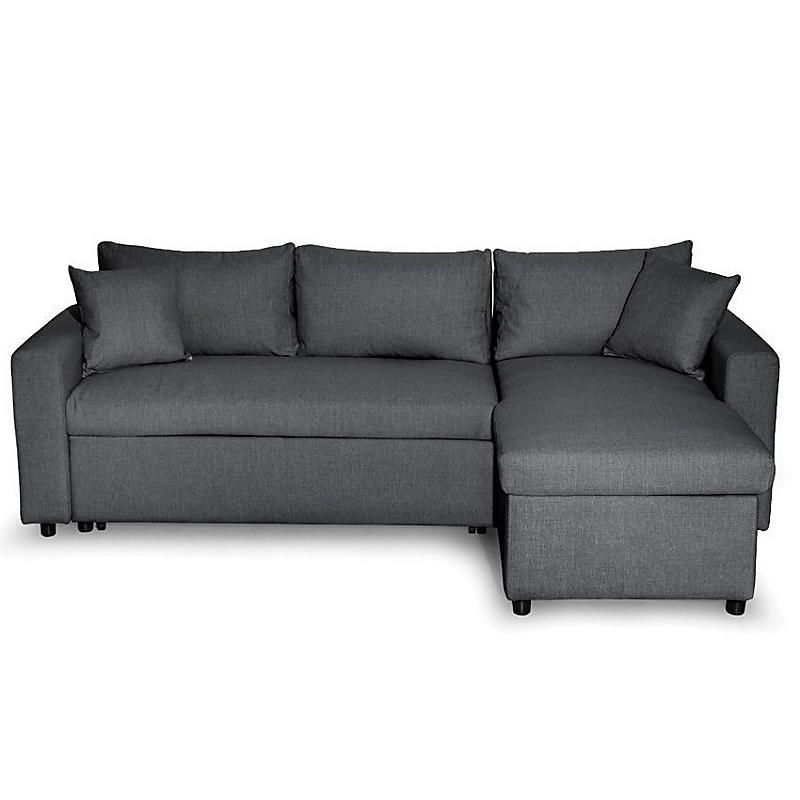 Canapé d'angle convertible réversible avec coffre tissu gris MARIA