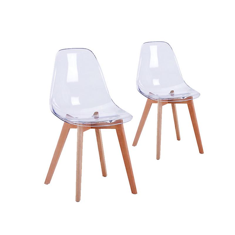 Lot de 2 chaises scandinaves assise transparente ARYA