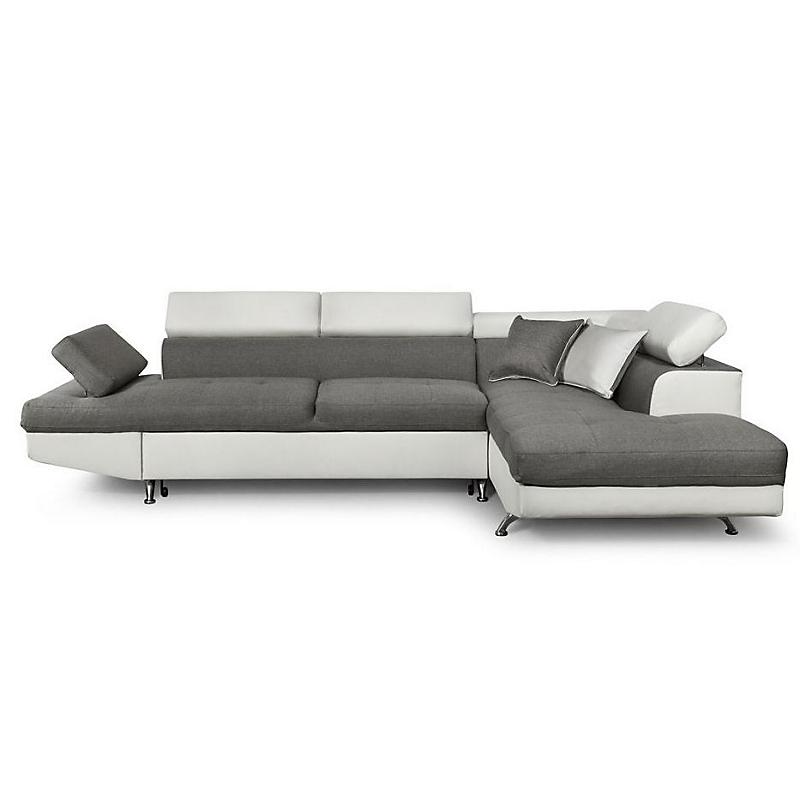Canapé d'angle droit convertible 5 places Tissu et PU gris / blanc - RIO