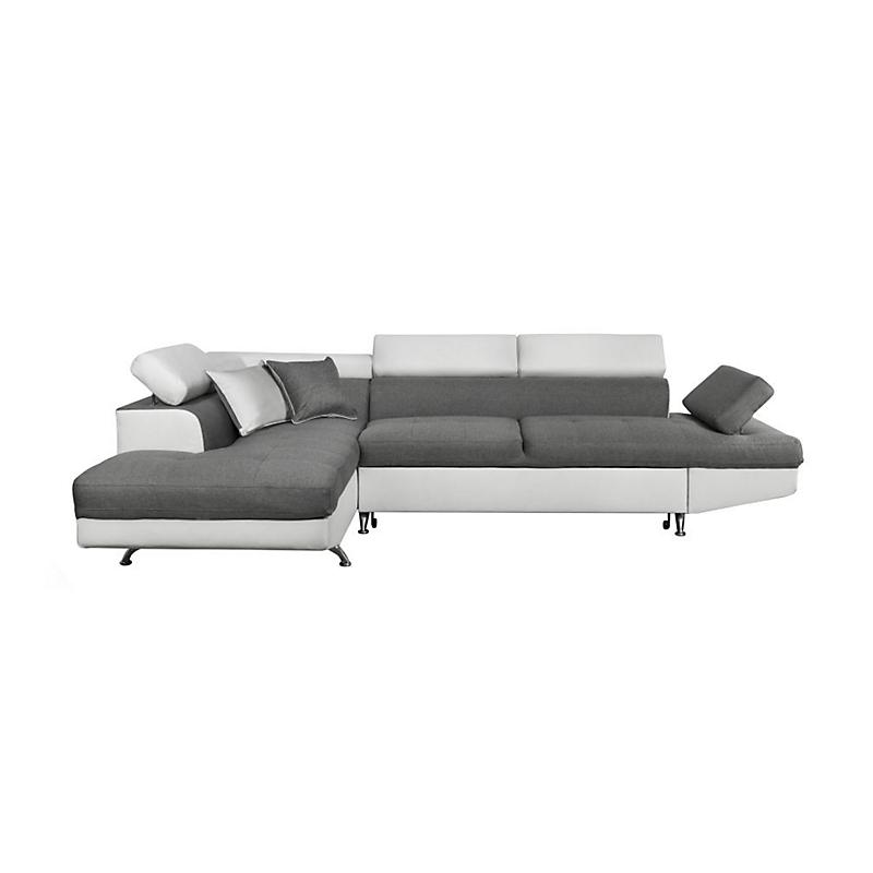 Canapé d'angle gauche convertible 5 places Tissu et PU gris / blanc - RIO