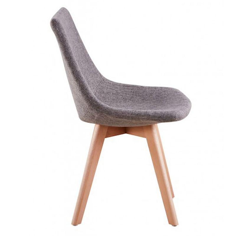 Lot de 2 chaises scandinaves en tissu chiné et bois massif gris foncé