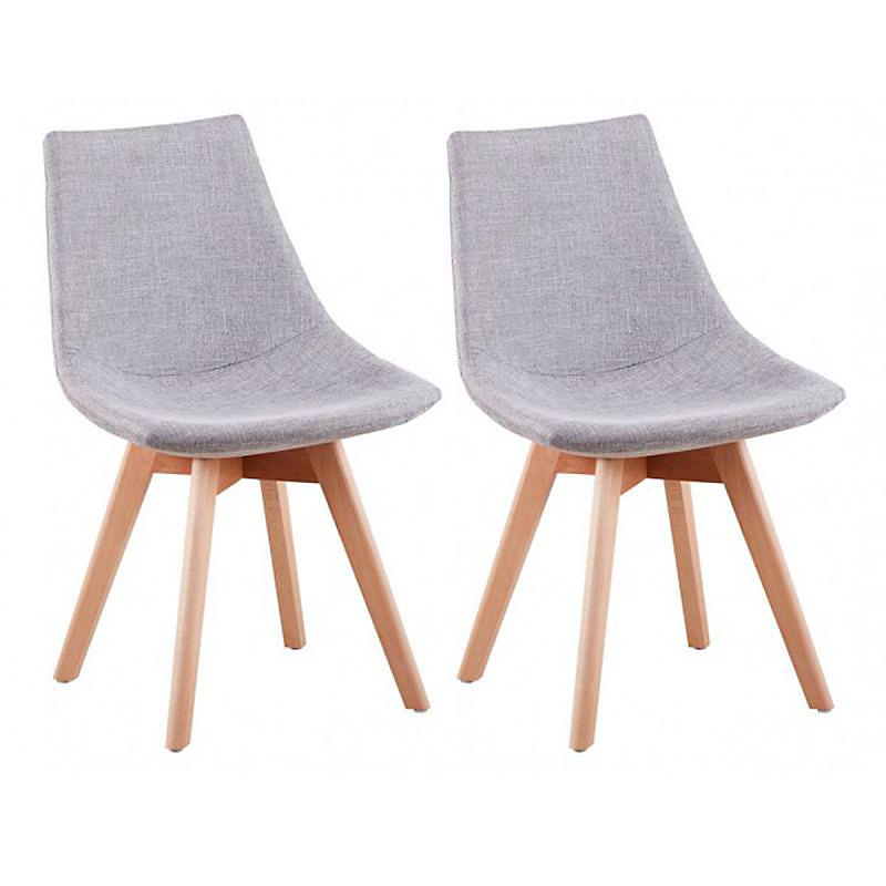 Lot de 2 chaises scandinaves en tissu chiné et bois massif gris clair