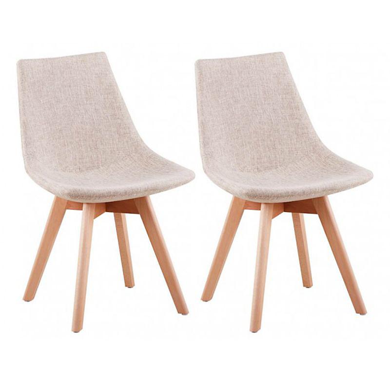 Lot de 2 chaises scandinaves en tissu chiné et bois massif beige