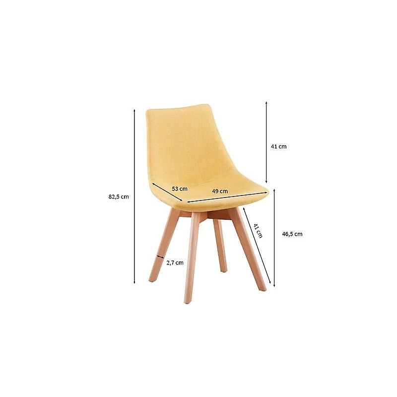 Lot de 2 chaises scandinaves en tissu chiné et bois massif jaune
