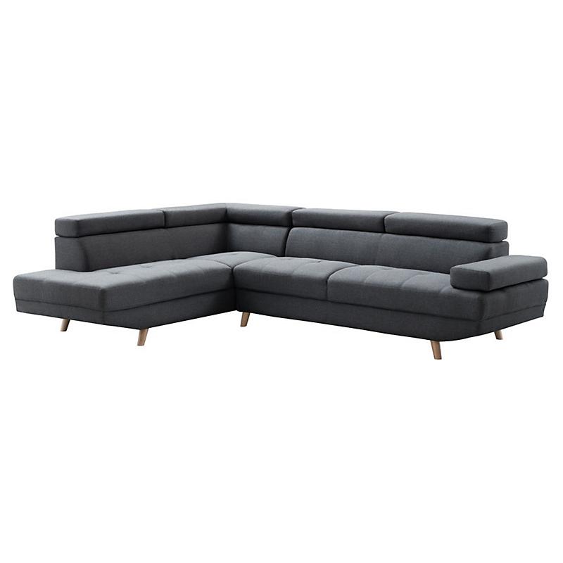 Canapé d'angle gauche SCANDINAVE 4 places tissu gris foncé