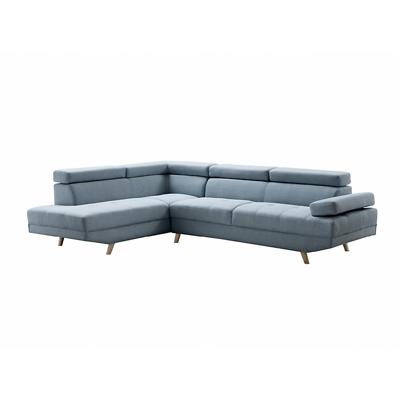 Canapé d'angle gauche SCANDINAVE 4 places tissu bleu