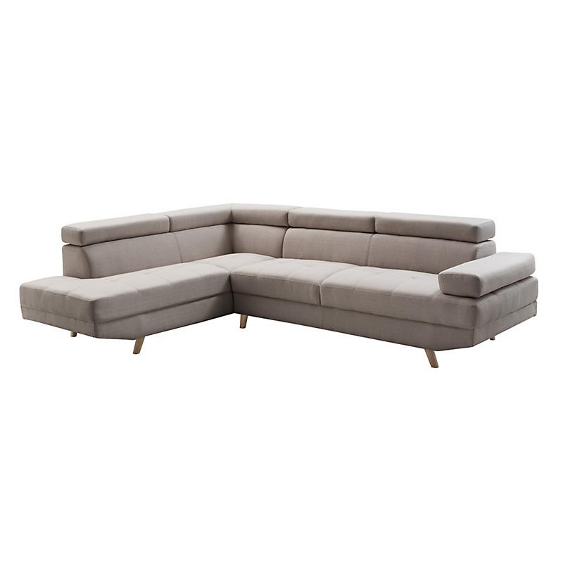 Canapé d'angle gauche SCANDINAVE 4 places tissu beige