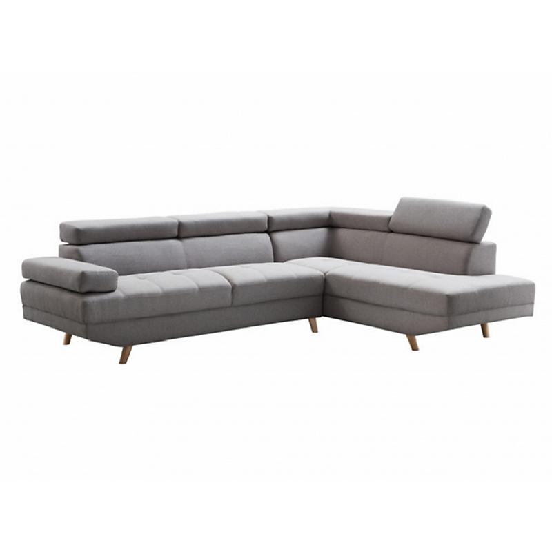 Canapé d'angle droite SCANDINAVE 4 places tissu gris clair