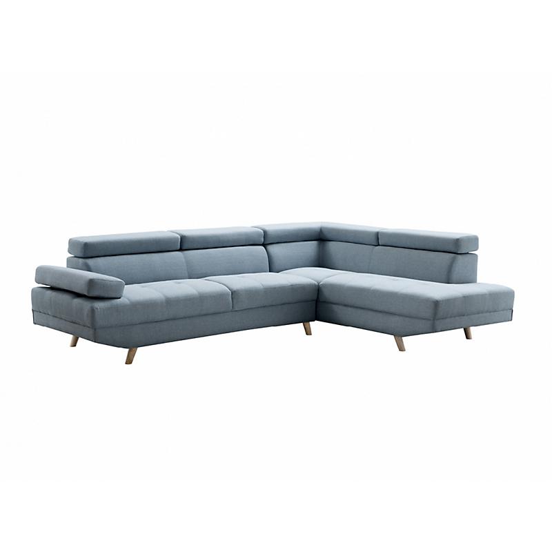 Canapé d'angle droit SCANDINAVE 4 places tissu bleu