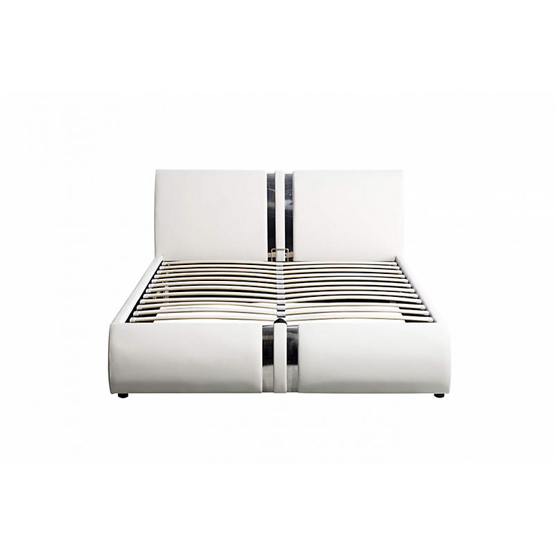 Cadre de lit avec tête de lit et coffre en PU blanc 160x200 ILMA