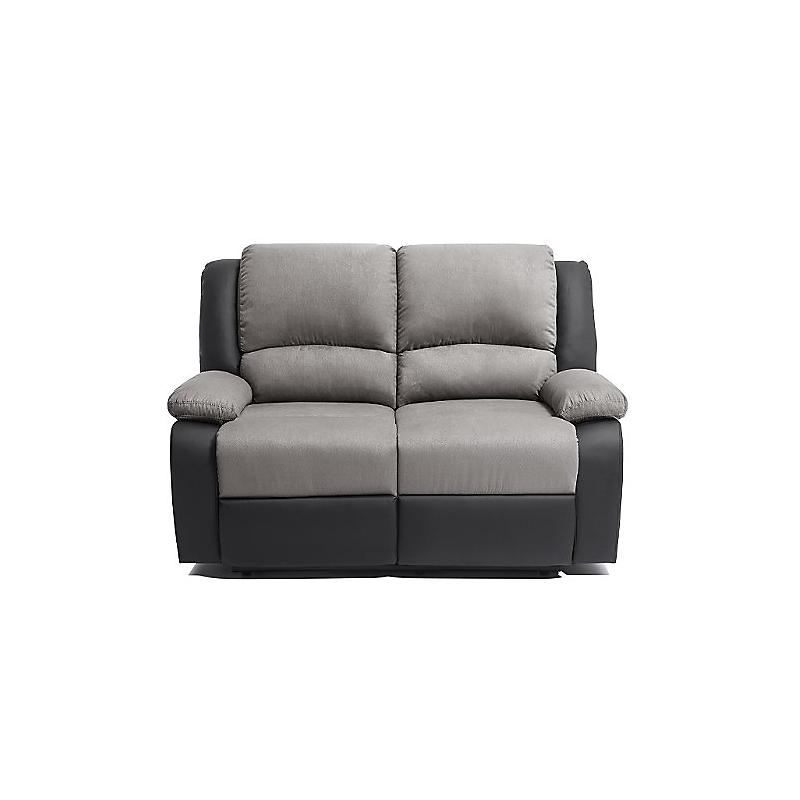 Canapé de relaxation 2 places RELAX PU noir + microfibre grise