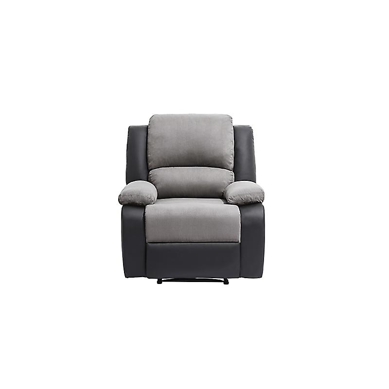Fauteuil de relaxation RELAX en PU noir + microfibre grise