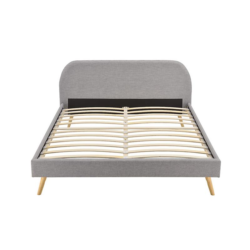 Cadre de lit MATT avec sommier à lattes 140 x 190 cm gris clair