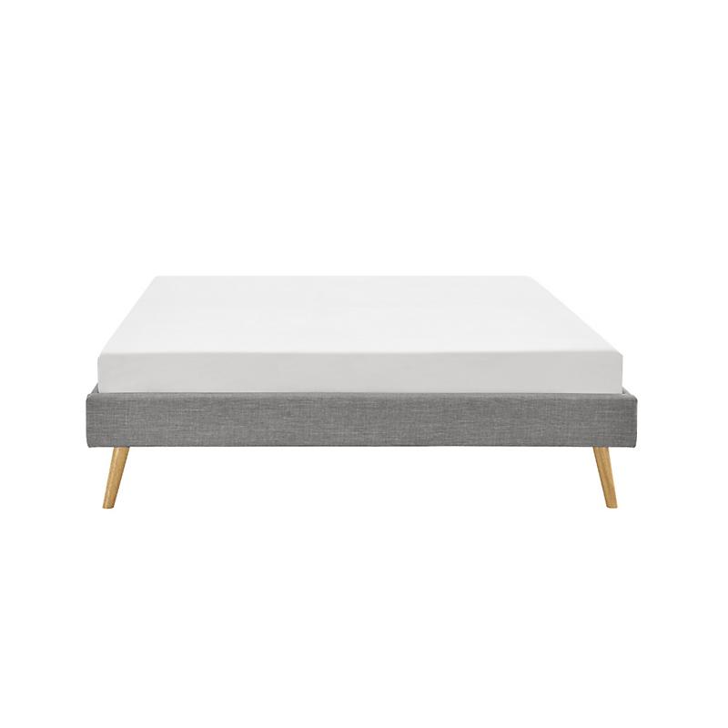Cadre de lit EMMA avec sommier à lattes 160 x 200 cm gris clair
